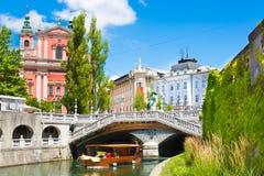 浪漫中世纪卢布尔雅那,斯洛文尼亚,欧洲 免版税图库摄影
