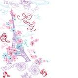 巴黎浪漫乱画卡片 浪漫旅行在巴黎 向量 皇族释放例证