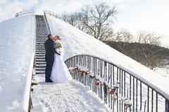 浪漫亲吻愉快的新娘和新郎在冬日 免版税图库摄影