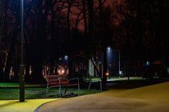 浪漫公园长椅在晚上 免版税库存照片