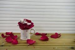 浪漫冬天季节摄影图象用作为有微笑的睡觉的雪人被塑造的蛋白软糖在冰了在红色爱心脏 免版税库存图片
