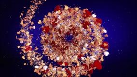 浪漫华伦泰` s天背景loopable红色心脏, loversб圆转动的螺旋的完善的背景  库存例证