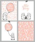 浪漫卡集 四张华伦泰` s天卡片用逗人喜爱的兔子和心脏 也corel凹道例证向量 图库摄影