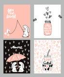 浪漫卡集 四张华伦泰` s天卡片用逗人喜爱的兔子和心脏 也corel凹道例证向量 免版税库存图片