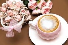 浪漫咖啡具 库存照片