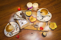浪漫咖啡 免版税库存照片