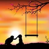浪漫在树,传染媒介例证下 库存照片