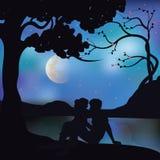 浪漫在树,传染媒介例证下 免版税库存图片