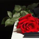 浪漫在钢琴的钥匙上升了在黑背景的 免版税库存图片