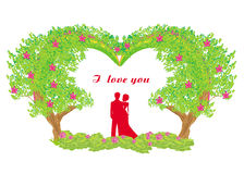 浪漫夫妇剪影 库存图片