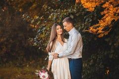浪漫夫妇在公园 库存照片