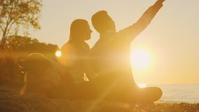 浪漫夫妇基于海滩在日落 在他们旁边坐,在他们附近是他们的狗 影视素材
