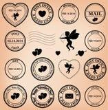 浪漫岗位在情人节-传染媒介盖印 免版税库存照片