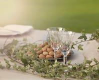浪漫庭院桌设置 免版税库存图片
