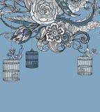 浪漫手拉的花卉看板卡wirh鸟和笼子 免版税库存照片