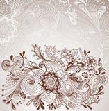 浪漫手拉的花卉背景 免版税库存照片