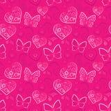 浪漫无缝心脏和的蝴蝶 免版税图库摄影