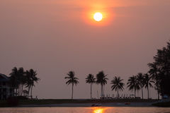 浪漫日落在普吉岛,泰国 图库摄影