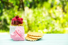 浪漫早餐A玻璃用酸奶和莓 origami的桃红色心脏 复制空间 免版税库存照片
