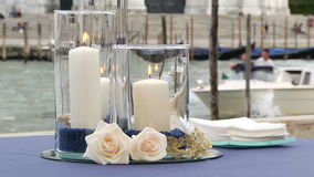 浪漫晚餐的蜡烛 股票录像