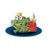 浪漫构成 青蛙公主、心脏和魔术箭头 免版税库存照片