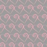 浪漫桃红色心脏样式 假日设计的传染媒介例证 免版税库存照片