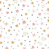 浪漫桃红色无缝的花卉爱样式孩子婴孩服装织品纺织品睡衣裤睡衣Valentinas天 向量例证
