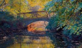 浪漫桥梁视图 抽象秋天明亮的颜色下跌叶子好的模式红色半 库存照片
