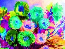 浪漫水彩艺术背景摘要五颜六色的织地不很细花翠菊创造性的春天 免版税库存图片