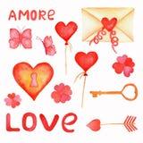浪漫水彩集合 Ð ¡情人节设计的artoon元素:信件、钥匙和锁,心脏气球,花,情书 库存照片