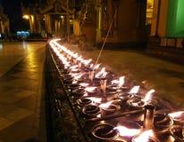 浪漫烛光在晚上 库存照片