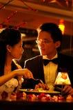 浪漫的吃饭的客人 图库摄影
