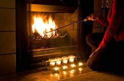 浪漫的壁炉 库存照片