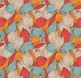 浪漫秋天花卉无缝的样式 与叶子的美好的不尽的线性背景 葡萄酒离开纹理 库存图片