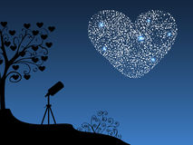 浪漫背景望远镜和心脏 免版税库存图片