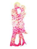 绘浪漫花卉花的桃红色夫妇恋人水彩 免版税库存照片