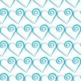 浪漫蓝色心脏样式 假日设计的传染媒介例证 库存图片
