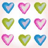 浪漫蓝色心脏样式 假日设计的传染媒介例证 免版税库存图片