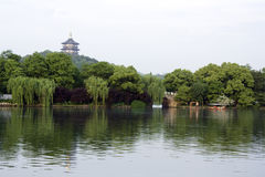浪漫西方湖 免版税库存照片