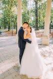 浪漫观点的拥抱的新婚佳偶在晴朗的公园安置的老凹室 图库摄影
