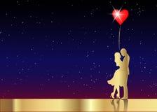 浪漫金剪影爱恋的夫妇情人节2月14日 愉快的恋人导航例证被隔绝的或满天星斗的宇宙 库存例证