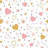 浪漫金子桃红色无缝的花卉爱样式孩子婴孩织品纺织品睡衣Valentinas天婚礼爱 向量例证