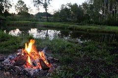 浪漫露营地在森林里 库存图片