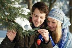 浪漫年轻peolple在冬天 免版税库存照片