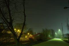 浪漫nightscene,路,步行路在晚上 库存照片