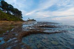浪潮合并海岸尼尔海岛Andaman横向 免版税库存图片