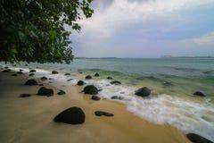 浪潮在岸旁边是高 免版税库存图片