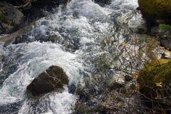 浪端的白色泡沫碰撞在谷下 库存图片