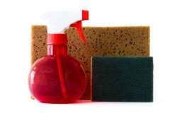 浪花瓶清洗的洗气器海绵 免版税库存照片