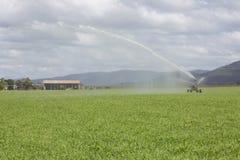 浪花Irrigator和农厂棚子 库存照片